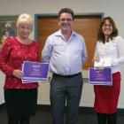 Innovation Challenge winners Virginia McCall and Vanessa Pullan with Chris Fleming