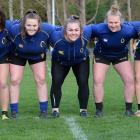 Otago Spirit front-rowers (from left) Paige Church, Tegan Hollows, Isla Pringle, Amy Rule, Gemma...