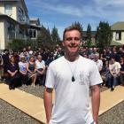 University of Otago student John Laurenson, of Fairlie, at a ceremony in the ''peace garden'' in...