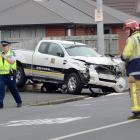 This damaged utility came to rest near the southbound lane of King Edward St, South Dunedin,...