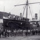 The SS Talune, photographed in Port Chalmers in the 1890s. In 1918, it would bring the influenza...