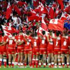 Fans showing support during the International Test match between Tonga and Australia at Mount...