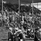 The grandstand and lawn at Wingatui during the Dunedin Jockey Club's spring meeting. - Otago...