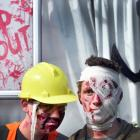 Dressed as Zombies Jackson (14) left and Ethan (15) Campbell on their property. Photo: Peter...