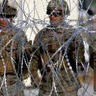 US Marines set up a barricade in Tijuana at the border between Mexico and the United States in...
