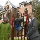 Hocken Collections photograph curator Anna Petersen (left) and deputy vice-chancellor for...