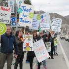 Central Otago teachers strike action outside Pioneer Park, Alexandra. Photo: Pam Jones