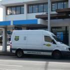An ACM cash van parked outside of ANZ Bank in Invercargill this morning. Photo: Ben Waterworth