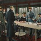 A British artist, Harold Piffard, depicted the signing of the Armistice in a railway carriage....