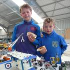 Waitahuna brothers Cameron (11) and Ben (7) Brown look over the Meccano collection of Tuapeka...