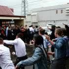 South Otago High School pupils perform a haka in honour of Balclutha man Malcolm Ward as his...