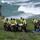 Firefighters carry German tourist Johanna Langner (25) up the steep access track at Tunnel Beach...