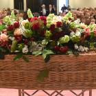 Mourners arrive at broadcaster Neil Collins' funeral in Dunedin yesterday.  Mr Collins was...