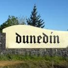 Dunedin's welcome signs as they will look with new lettering. ODT GRAPHIC: MAT PATCHETT