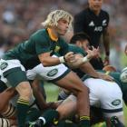 Faf de Klerk clears the ball from a ruck for the Springboks against the All Blacks earlier this...