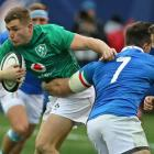 Ireland's Jordan Larmour busts through the Italian defence. Photo: Getty