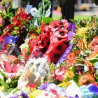 Wreaths laid by dignitaries and servicemen before the Anzac Memorial at Hyde Park, Sydney today....