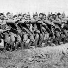 Maori troops welcome the New Zealand Prime Minister, the Hon W. Massey, and Sir Joseph Ward to...