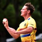 Otago seamer Nathan Smith in action during a training session at Logan Park earlier this week....