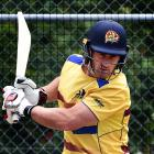 Veteran Otago batsman Neil Broom prepares to avoid a delivery during a training session at Logan...