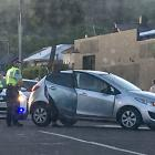 Police attend a crash at the intersection of Eden and Reed Sts on Tuesday.PHOTO: HAMISH MACLEAN