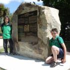 Maheno School pupils Jack Jones (left) and Ben Hamilton (both 12) at the Maheno cenotaph where a...