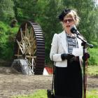 Phoenix Mill Restoration Trust chairwoman Carol Berry speaks at the handover ceremony of the...