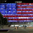 The municipality building in Tel Aviv is lit in the colours of the American flag in solidarity...