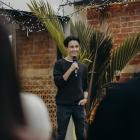 Athlete Oli Chignell addresses the crowd at a Precinct Group function in Dunedin this week. Photo...