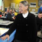 Otago Furniture manager Roye Haugh shares a lighter moment with staff during a morning tea break...