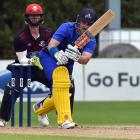 Otago batsman Hamish Rutherford plays the ball to the onside during his magnificent innings of...