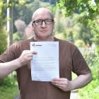 """Dunedin homeowner Sam Sharpe says a """"threatening"""" letter from the Dunedin City Council will not..."""