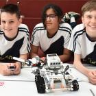 Tahuna Intermediate pupils (from left) Jonty Allan, Bhavya Kalra and Alex Brown (all 12) work on...