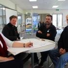 Otago Regional Councillor Carmen Hope (left) talks with farmers (second from left) Ash Townsend,...