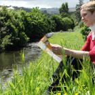 Dunedin Botanic Garden information services officer Clare Fraser sits beside the Water of Leith...