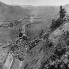 The scene of a fatal railway accident, near Mataroa, north of Taihape, on the North Island main...