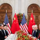 Chinese President Xi Jinping (left) and US President Donald Trump (right) at dinner after the G20...