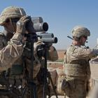 US soldiers on surveillance during a combined joint patrol in Manbij, Syria, in November. Photo:...
