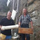 Former Alexandra Jaycees members Ewan Richmond (left) and Murray Anderson display a time capsule...