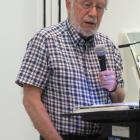 Alexandra poet Michael Harlow speaks at a ceremony in Alexandra in honour of his Prime Minister's...