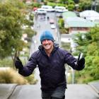 Andrew Roozen is the first person to do the Everest challenge up Dunedin's Baldwin St. PHOTO:...