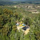 Oceana Gold test drilling around the Blackwater mine site area in 2012, in the foothills of the...