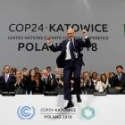 COP@$ President Michal Kurtyka reacts to progress made in agreeing international rules for...