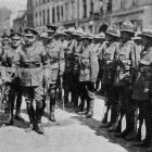 The Duke of Connaught inspects the victors of the Messines battle: greeting a New Zealand general...