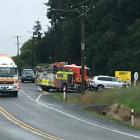 Emergency services at a crash on SH1 south of Oamaru. Photo: Hamish MacLean