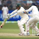 Usman Khawaja of Australia bats during day three of the second match in the Test series between...