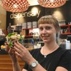 Viv Stewart , who is manager of the Dispensary Cafe at Dunedin Public Hospital holds a salad from...