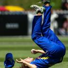 Kate Heffernan, of Otago, takes a catch to dismiss Amelia Kerr, of Wellington, during the T20...