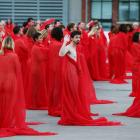 Participants pose for Spencer Tunick during the photo shoot in Melbourne in July. Photo: Getty