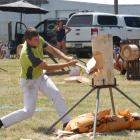 Swiss axeman Ollie Reinhard competes during the Gore round of the New Zealand Axemen's...